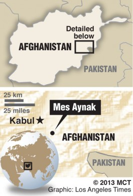 Map locates ancient Buddhist city, Mes Aynak