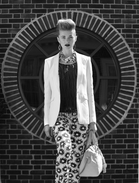 Marc Cain print pants, $318; Athena earrings, $78; both Jones & Jones. Rag & Bone blazer, Ruth Shaw, $795. Avec fringe top, Lori K, $110. Isabelle Fiore bag, urbanminx.com, $350. Rococo Rocks necklace, Bijoux Inspired Jewels, $460.  (Lloyd Fox/Baltimore Sun/MCT)