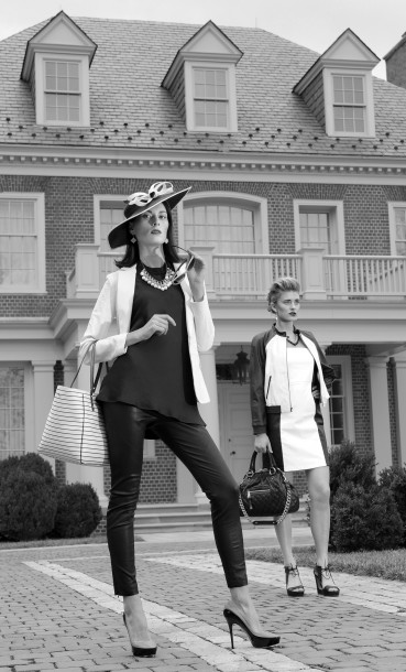 On Anna (left): DKNY perforated leather jacket, $995; Rag & Bone leather pants, $895; both Ruth Shaw. Muse dress, Jones & Jones, $165. Rachel Mulherin bib necklace, Rachel Mulherin, $130. Plaza Suite fascinator, Hats in the Belfry, $129. Kate Spade tote, $398; Dior sunglasses, $395; both Handbags in the City. On Bethany: Alice + Olivia leather jacket, $880, and dress, $798; both L'Apparenza. Marc Jacobs handbag, Nordstrom, $1,395. Rachel Mulherin necklace, Rachel Mulherin, $130. Tom Ford sunglasses, Handbags in the City, $495. La Vie Parisienne earrings, Bijoux Inspired Jewels, $70. (Lloyd Fox/Baltimore Sun/MCT)