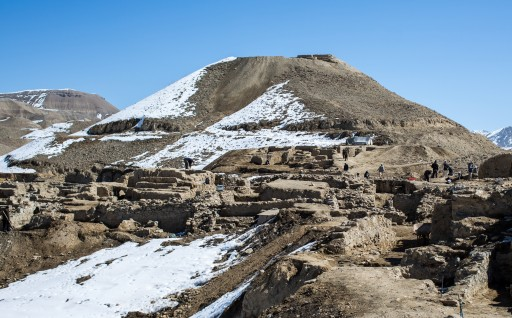 Archaeologists and local laborers excavate the main part of the ancient city at Mes Aynak in Afghanistan, which sits on the old Silk Road trading route connecting China and India with the Mediterranean. (Matthew C. Rains/MCT)
