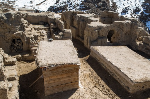 This is the courtyard in one of several Buddhist monastaries at the Mes Aynak site in Afghanistan. The two box-like structures (center) were built by laborers on the site to protect a stupa and a fallen statue from the weather until they can be removed. (Matthew C. Rains/MCT)