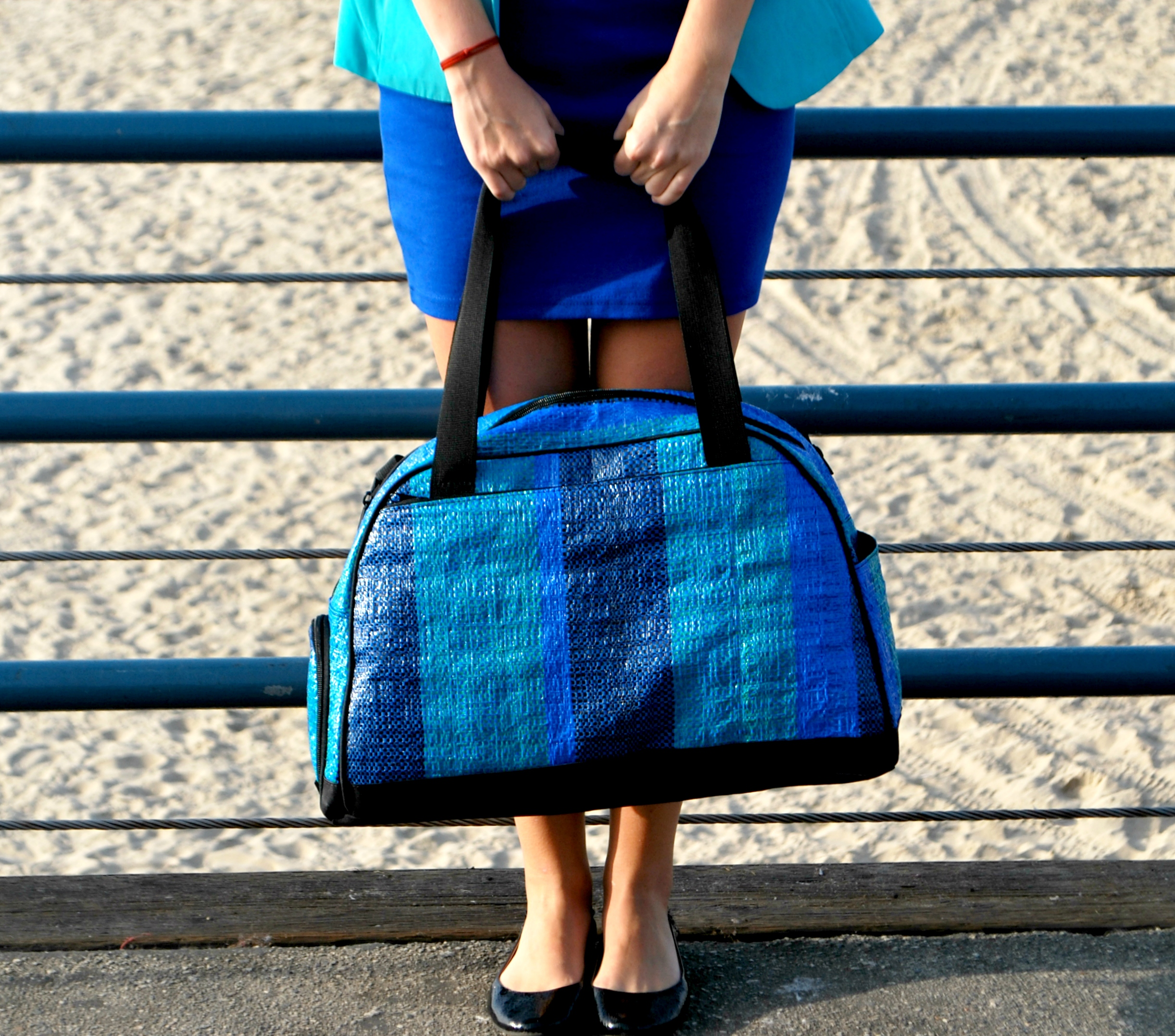 blue bag and feet