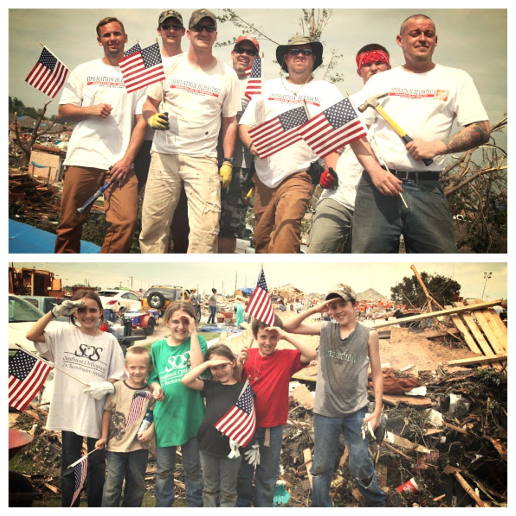 Operation Blessing volunteers, helping with rubble removal in Moore, Oklahoma over Memorial Day weekend