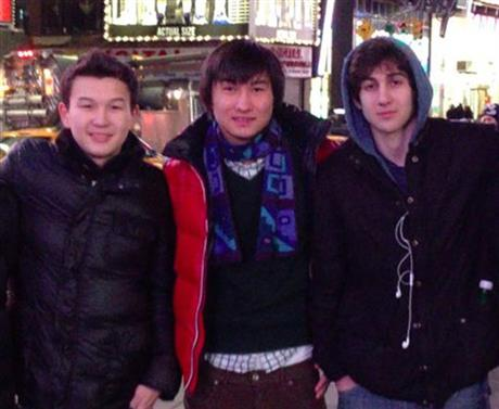 Boston Marathon bombing suspect Dzhokhar Tsarnaev poses alongside new suspects Dias Kadyrbayev and Azamat, who are not believed to be involved in the planning and execution of the bombing.