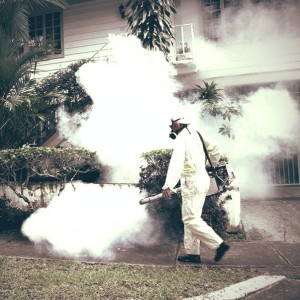A Healthy Ministry worker fumigates in a residential area near the Panama Canal in July 2013. Mosquitos can breed in stagnant water collected in parked or abandoned autos. Photo courtesy of Panama's Health Ministry. (Tim Johnson/MCT)